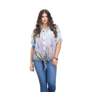 Full Figured Fashionista Women's Plus Size Summer Tie Button Up Top