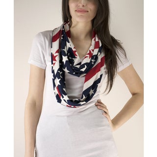 Le Nom American Flag Stars and Stripes Print Infinity Scarf