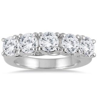 Marquee Jewels 14k White Gold 3ct TDW Prong 5-stone Diamond Wedding Band (J-K, I2-I3) (3 options available)