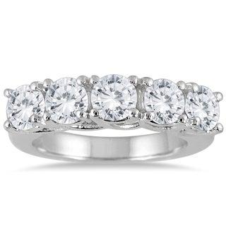Marquee Jewels 14k White Gold 3ct TDW Prong 5 Stone Diamond Wedding Band J K I2 I3