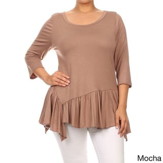 MOA Collection Plus Size Women's Solid Peplum Top