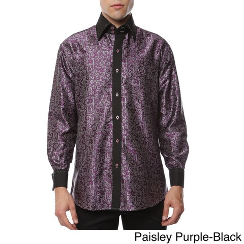 Ferrecci Men's Satine Paisley or Geometric Satine Microfiber Dress Shirt