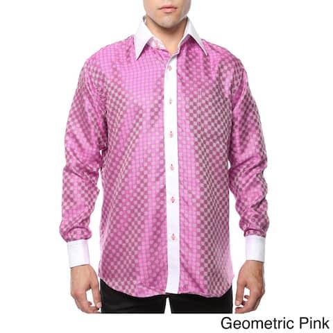 Ferrecci Men's Satine Paisley or Geometric Satine Microfiber Dress Shirt
