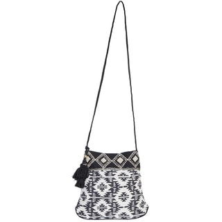 Scully Black and White Cotton Crossbody Handbag