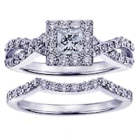 Platinum 1 1/6ct TDW Diamond Engagement Ring Bridal Set