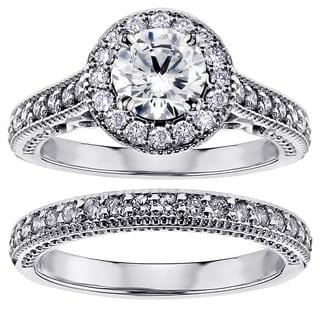 Platinum 1 2/5ct TDW Diamond Halo Bridal Set (G-H, SI1-SI2)