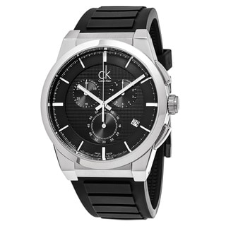 Calvin Klein Men's K2S371D1 'Dart' Black Dial Black Rubber Strap Chronograph Swiss Quartz Watch