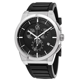 Calvin Klein Men's K2S371D1 'Dart' Black Dial Black Rubber Strap Chronograph Swiss Quartz Watch