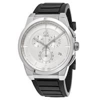 Calvin Klein Men's  'Dart' Silver Dial Black Rubber Strap Chronograph Swiss Quartz Watch