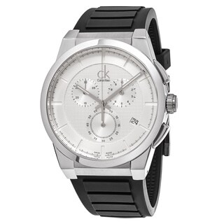Calvin Klein Men's 'Dart' Silver Dial Black Rubber Strap Chronograph Swiss Quartz Watch