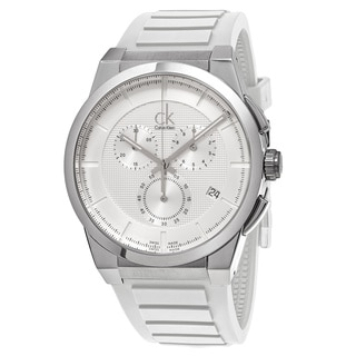 Calvin Klein Men's K2S371L6 'Dart' Silver Dial White Rubber Strap Chronograph Swiss Quartz Watch
