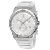 Calvin Klein Men's  'Dart' Silver Dial White Rubber Strap Chronograph Swiss Quartz Watch