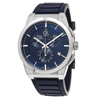 Calvin Klein Men's K2S371VN 'Dart' Blue Dial Blue Rubber Strap Chronograph Swiss Quartz Watch