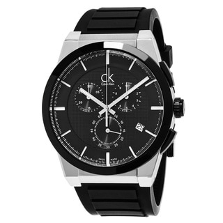 Calvin Klein Men's K2S37CD1 'Dart' Black Dial Black Rubber Strap Chronograph Swiss Quartz Watch