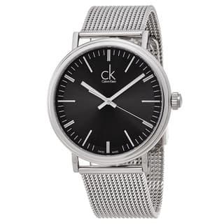 Calvin Klein Men's K3W21121 'Surround' Black Dial Stainless Steel Mesh Swiss Quartz Watch|https://ak1.ostkcdn.com/images/products/11708184/P18631018.jpg?impolicy=medium
