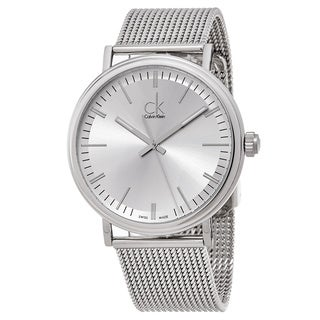 Calvin Klein Men's K3W21126 'Surround' Silver Dial Stainless Steel Mesh Swiss Quartz Watch