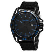Calvin Klein Men's K5Y31YB1 'Earth' Black/Blue Dial Black Fabric Strap Swiss Quartz Watch