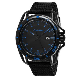 Calvin Klein Men's K5Y31YB1 'Earth' Black/Blue Dial Black Fabric Strap Swiss Quartz Watch