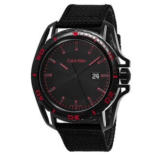 Link to Calvin Klein Men's K5Y31ZB1 'Earth' Black/Red Dial Black Fabric Strap Swiss Quartz Watch Similar Items in Men's Watches