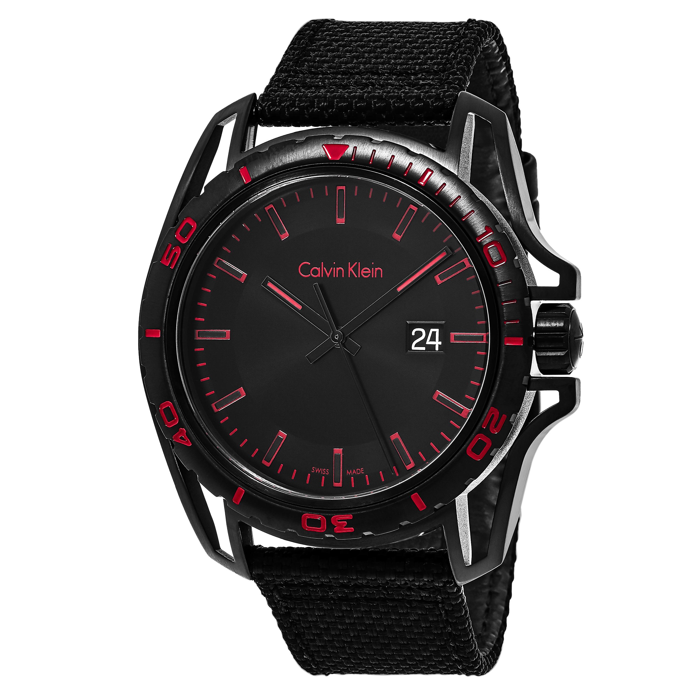 Calvin Klein Men's K5Y31ZB1 'Earth' Black/Red Dial Black ...