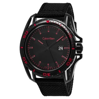 Calvin Klein Men's K5Y31ZB1 'Earth' Black/Red Dial Black Fabric Strap Swiss Quartz Watch|https://ak1.ostkcdn.com/images/products/11708188/P18631021.jpg?impolicy=medium