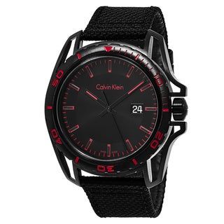 Calvin Klein Men's K5Y31ZB1 'Earth' Black/Red Dial Black Fabric Strap Swiss Quartz Watch