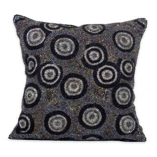 Celebration Circle Design Grey Beaded Decorative Pillow
