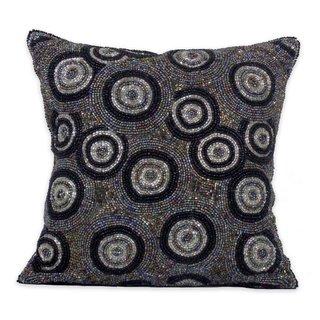 Celebration Circle Design Grey Beaded Decorative Pillow