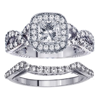 Platinum 2 3/4ct TDW Clarity Enhanced Princess Diamond Bridal Ring Set