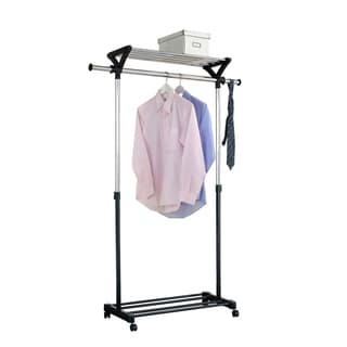 Black and Silver Adjustable Rolling Garment Rack