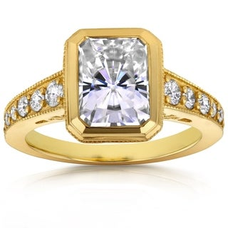 Annello by Kobelli 14k Yellow Gold 3ct TCW Radiant Bezel Moissanite and Diamond Antique Engagement R