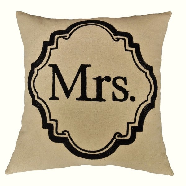 Fashion Street Mrs 18-inch Square Ivory Deco Throw Pillows (Set of 2)