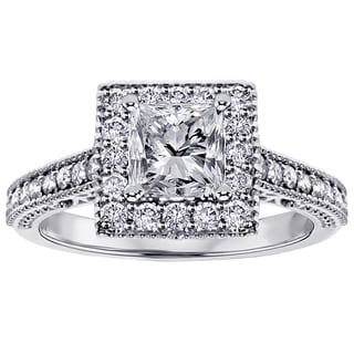 Platinum 1 2/5ct TDW Princess-cut Diamond Engagement Ring