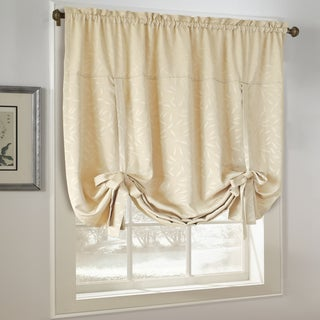 All Over Leaf Jacquard Adustable Tie-Up Window Shade - 63 x 52