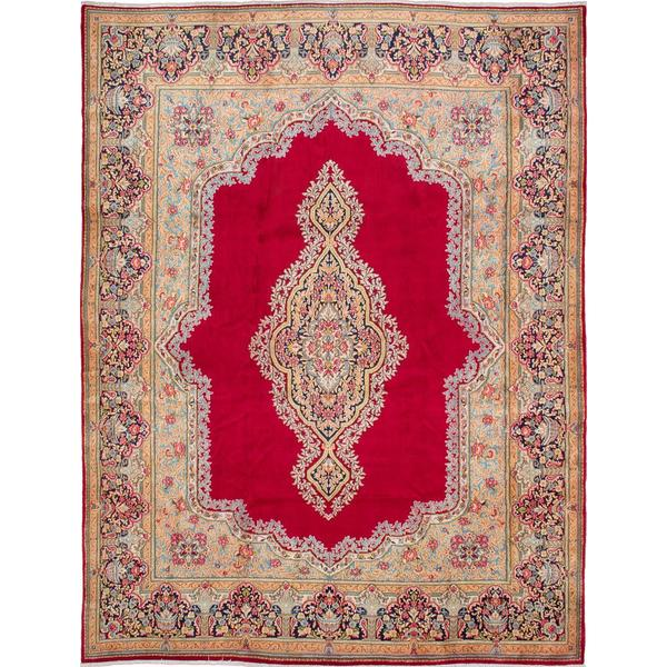 ecarpetgallery Hand-knotted Persian Kerman Red Wool Area Rug (9'11 x 13'1)