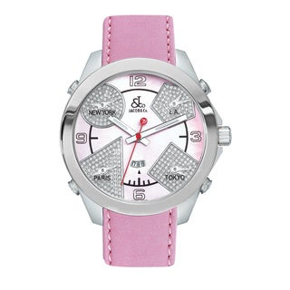 Jacob & Co Women's Stainless Steel Diamond Dial Pink Leather Strap Watch