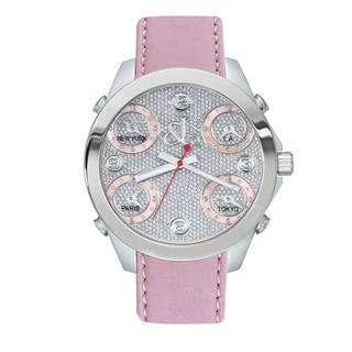 Jacob & Co Women's Time Zone Diamond Dial Pink Leather Strap Watch