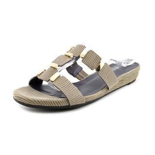 Vaneli Women's 'Blisse' Basic Gold Textile Sandals