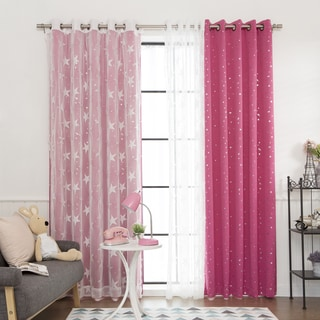 Aurora Home Mix & Match Star Struck Blackout with Sheer Star Curtain Panel (4 Piece Set)