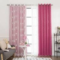 Aurora Home Mix & Match Star Struck Blackout and Star Sheer 4-piece Curtain Panel Set - 52 x 84