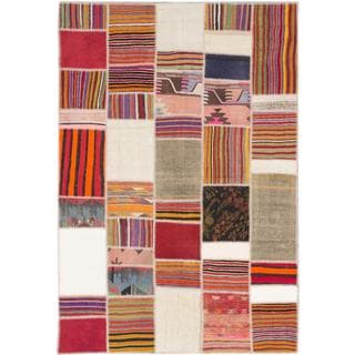 ecarpetgallery Hand-made Anatolia Patch Beige, Red Wool Kilim (6'8 x 10'0)
