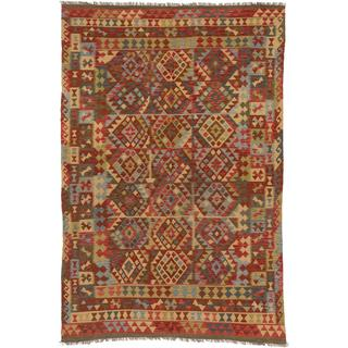 ecarpetgallery Hand-made Hereke Kilim Red Wool Kilim (6'9 x 10'1)