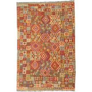 ecarpetgallery Hand-made Hereke Kilim Brown, Red Wool Kilim (6'9 x 10'4)