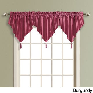 Anna Solid Color Faux Silk Ascot Valance with Tassel