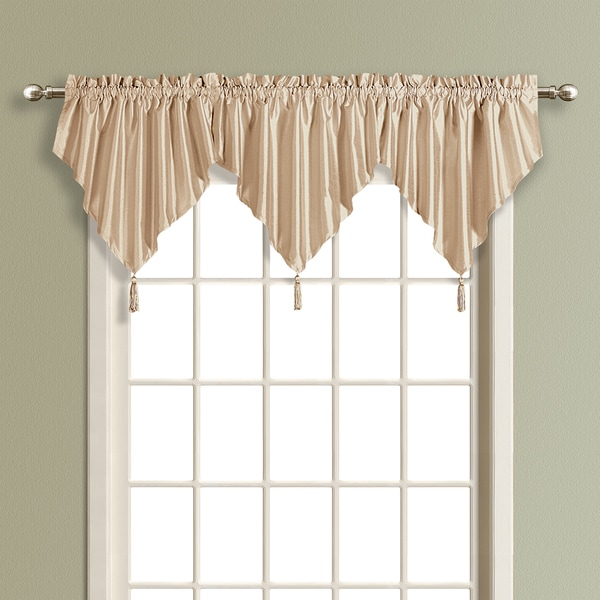 Luxury Collection Anna Solid Color Faux Silk Ascot Valance with Tassel
