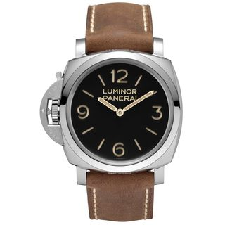 Panerai Men's PAM00557 'Luminor 1950 Left-handed 3 Days Acciaio' Mechanical Hand Wind Brown Leather
