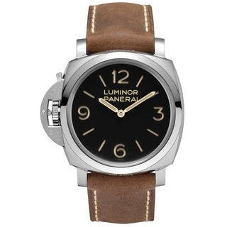 Panerai Men's PAM00557 'Luminor 1950 Left-handed 3 Days Acciaio' Mechanical Hand Wind Brown Leather|https://ak1.ostkcdn.com/images/products/11708437/P18631233.jpg?impolicy=medium
