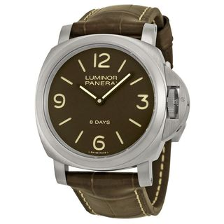 Panerai Men's PAM00562 'Luminor Base 8 Days Acciaio' Mechanical Hand Wind Brown Leather Watch