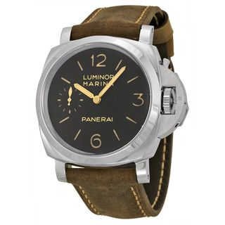 Panerai Men's PAM00422 'Luminor Marina 1950 3 Days Acciaio' Automatic Brown Leather Watch