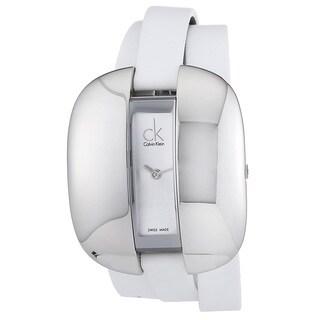 Calvin Klein Women's K2E23120 'Treasure' White Leather Watch
